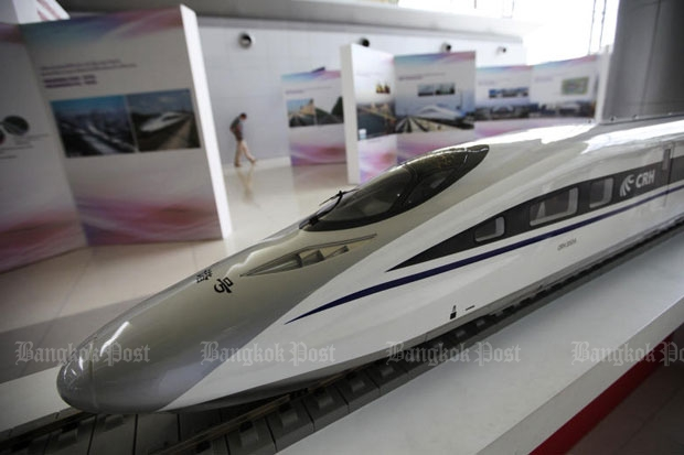 A high-speed train model is displayed in an exhibition by the State Railway of Thailand in Bangkok in March. The railway board has approved two high-speed trains for Bangkok to Hua Hin and Bangkok to Rayong. (Photo by Patipat Janthong)