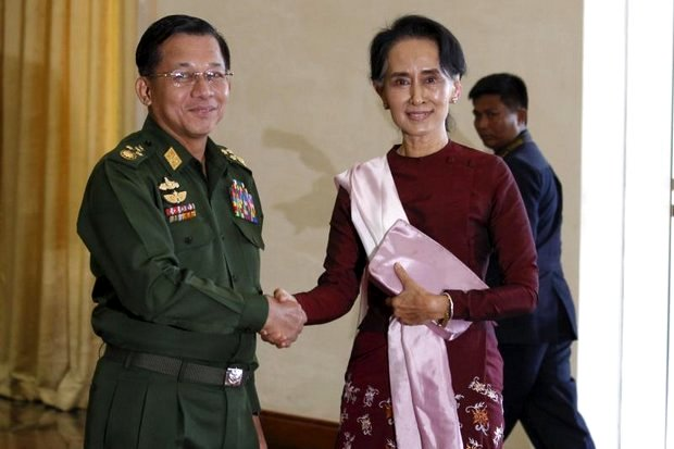 The relationship between Aung San Suu Kyi and Snr Gen Min Aung Hlaing remains fragile, but both sides are learning to co-exist in the new era. (AFP photo)