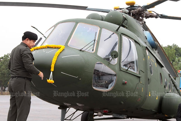 An Mi-17V5 helicopter is seen at the delivery ceremony at the 11th Infantry Regiment on March 29, 2011. (Bangkok Post file photo)