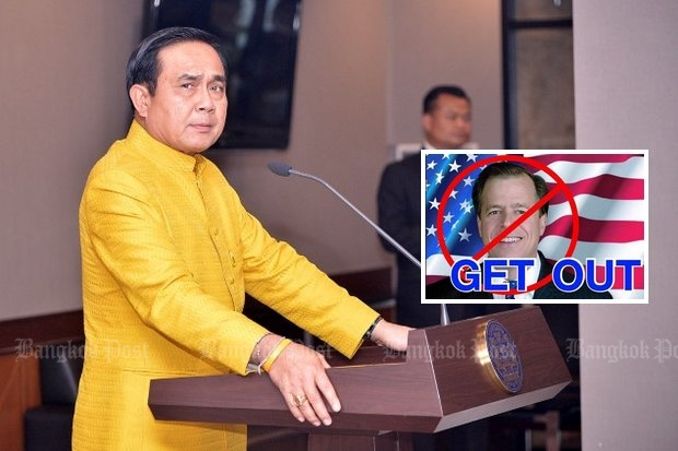 Gen Prayut: 'More Thai people now hold a grudge against' the US ambassador. (Main photo by Thanarak Khunton)