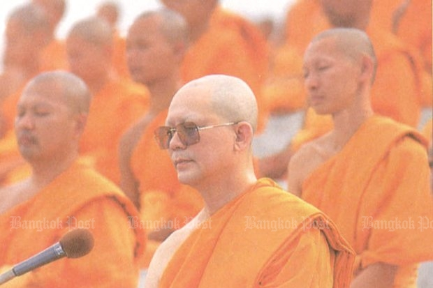 Wat Dhammakaya and the charismatic Phra Dhammajayo sprang into the limelight in the late 1990s as a reform sect, and almost immediately became mired in controversy and scandal. (Bangkok Post file photo)
