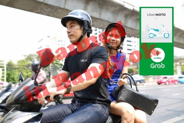 Two smartphone-driven motorcycle taxi operations were ordered shut down by the Department of Land Transport (DLT) on Tuesday. (Main photo courtesy of UberMoto)