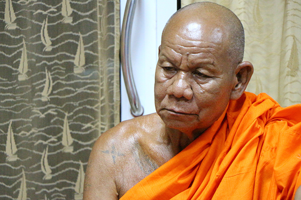 Phra Thawil Santajitto, the abbot of Wat Makhamthong was expelled from the monkhood. (Photo by Manit Sanubboon)