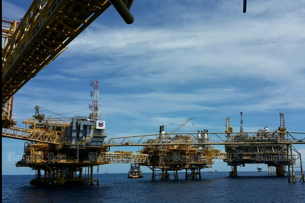 The Erawan natural gas field, operated by Chevron Thailand Exploration & Production Ltd. The company's concession for the field , located in the Gulf of Thailand, run through 2022. (Photo by Chanika Suksomjit)