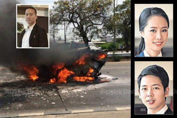 Janepob Veeraporn, top left, was driving the Mercedes-Benz that smashed into a car in Ayutthaya on March 13, starting a vehicle fire that killed post-graduate students Thanthaphat Horsaengchai and Kritsana Thaworn, inset right. (Bangkok Post photos)