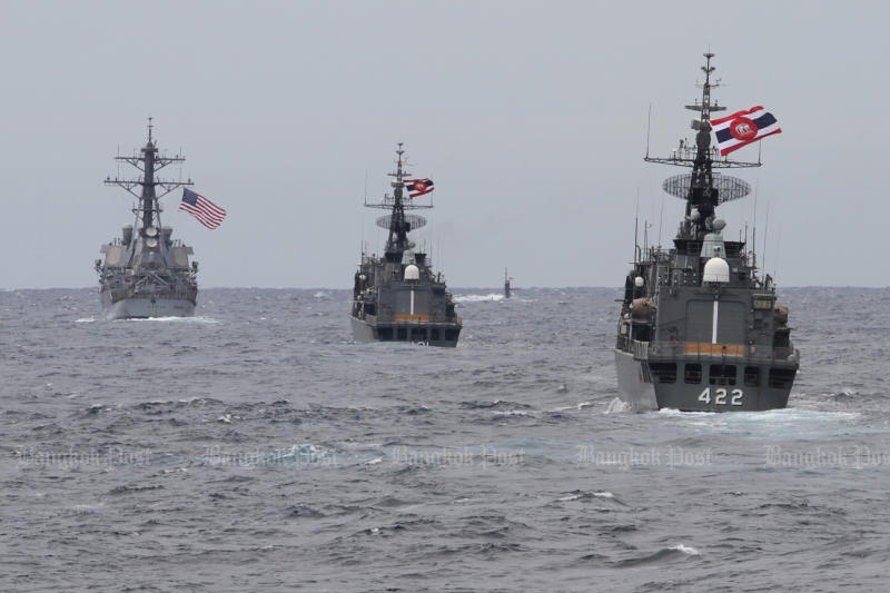An anti-submarine drill between the Thai and US navies was held in the Andaman Sea last week. (Photo by Pattanapong Hirunard)