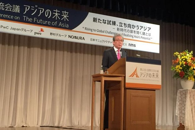 Prime Minister Somkid Jatusripitak said Tuesday Thailand will apply to join the US-led Trans Pacific Partnership (TPP) as soon as possible. He made the commitment when he delivered the keynote speech at Nikkei Forum 22 International Conference on the Future of Asia (2016) in Tokyo. (Photo courtesy of Government House)