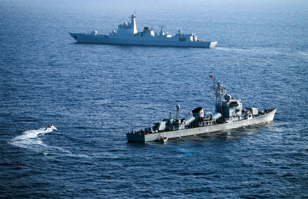 Vessels from China's South Sea Fleet take part in a drill off the disputed Paracel Islands in the South China Sea in May. (AFP Photo)