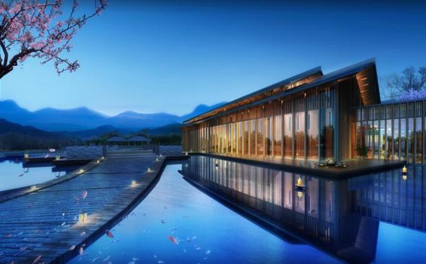 Scheduled to open in the second quarter of 2019, the Dusit Thani Hot Springs and Wellness Resport Fuzhou features 250 guestrooms and villas, with hot spring pools. (Photo courtesy of Dusit International Plc)