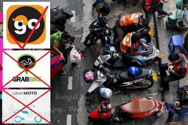 The government banned Uber Moto and GrabBike but immediately allowed a similar one called Go Bike developed by current motorcycle taxi operators. (File photo)