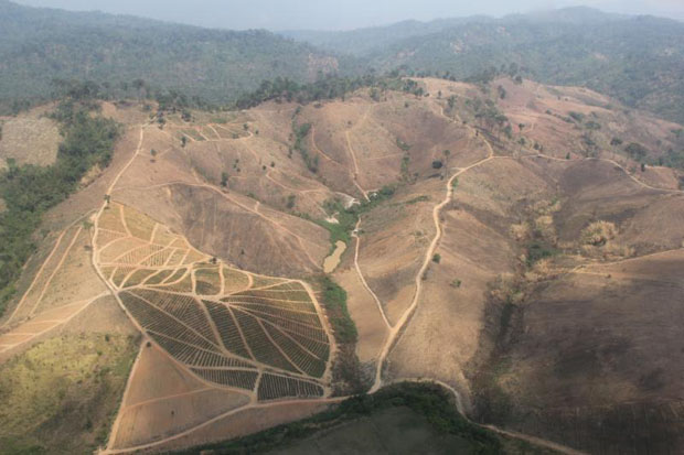 The aerial picture shows an encroached and deforested former catchment area where Phitsanulok and Loei provinces adjoin. The government says it has reclaimed about 450,000 rai of encroached forestland in the past two years. (Photo by Chinnawat Singha)