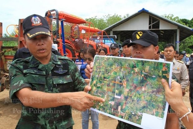 Flashback: One of the high-profile army evictions occurred a year ago in Nakhon Ratchasima's Sung Noen district, when the 2nd Army uprooted three villages accused of encroaching on forest land. (Photo by Tawatchai Kemgumnerd)