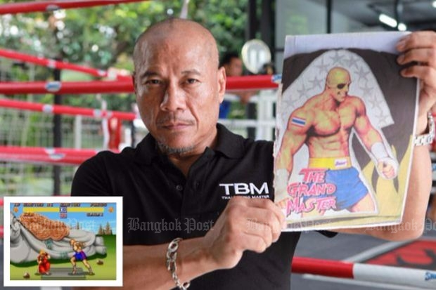 WARRIOR: Sagat displays the 'Street Fighter' video game villain thought to be a clone of him from in his boxing heyday in the '90s. Right, on the cover of Thai boxing magazines.  Below, at 58 years of age, he is fit and still trains at the Petchyindee Gym. Inset: Screenshot of video game starring Sagat.