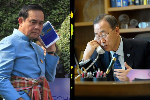 Prime Minister Prayut Chan-o-cha says UN Secretary-General Ban Ki-Moon spent five minutes 'expressing concern' about lack of freedoms in Thailand, and he took 25 minutes answering him. (Photos by Post Today, UN.org)