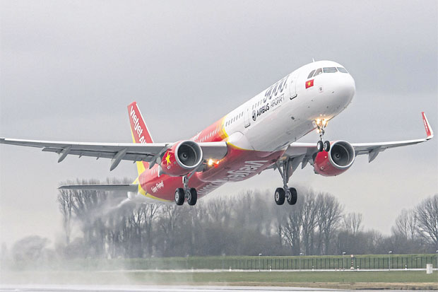 A VietJet Airbus 321 takes off. TVJA is set to assume scheduled flights that VietJet Air now services between Thailand and Vietnam.