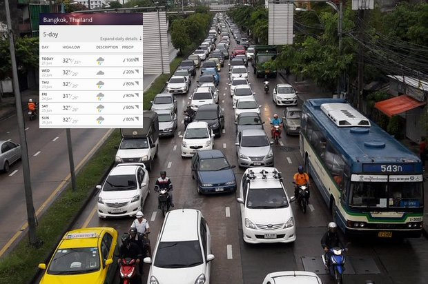 With flooded areas ahead, traffic in some areas of Bangkok was jammed for several kilometres. (Photo via Twitter/@js100radio)