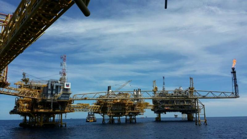 The Erawan natural gas field, operated by Chevron Thailand Exploration & Production Ltd. The company's concession for the field , located in the Gulf of Thailand, has been extended to 2022 after expiring in 2012. (Photo by Chanika Suksomjit)