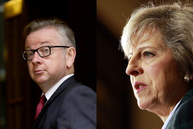 Michael Gove, Secretary of State for Justice, and Home Secretary Theresa May are in the race for the Conservative Party's leader. (AP and EPA photos)