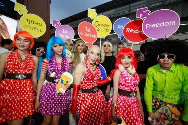 Activists campaign for LGBT rights in colourful outfits in Siam Square in this photo taken in May. The Corrections Department will separate LGBT convicts from the prison population to prevent abuse. (Photo by Jiraporn Kuhakan)