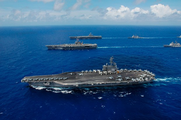 Among warships headed into the South China Sea region is a US task force headed by the aircraft carrier USS Ronald Reagan. (Creative Commons via Wikipedia)