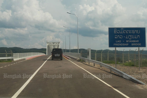 The Myanmar-Lao Friendship Bridge was formally opened in May last year but it remains closed to traffic as the two countries have not agreed on where the border demarcation line should lie. (Photo by Tawatchai Kemgumnerd)