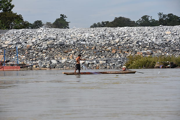 The Don Sahong Dam on the lower Mekong next to Cambodia is designed to block a channel of the river popular with Cambodian fishermen. (Photo courtesy: Kate Ross)