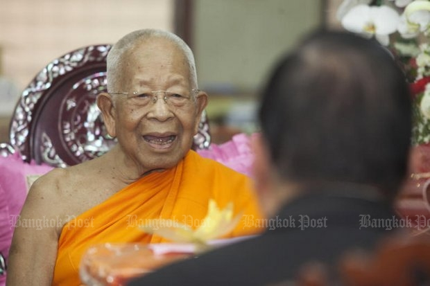 Somdet Phra Maha Ratchamangalacharn, better known as Somdet Chuang, is the only nominee for Supreme Patriarch, but he is enmeshed in at least two major scandals over his former luxury car and his ties to the Dhammakaya sect. (File photo by Pawat Laopaisarntaksin)