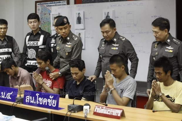Police presented five of the six youths and one girl charged with the killing at a media conference the day after they were arrested on May 2. An under-18 youth and a female also are charged. (Bangkok Post file photo)