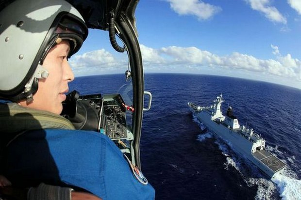 China conducts frequent military patrols and exercises in the South China Sea. According to the official press, this one lasted two weeks and included two guided missile destroyers, two missile frigates, a supply ship and shipboard helicopters. (Photo via English.sina.com)