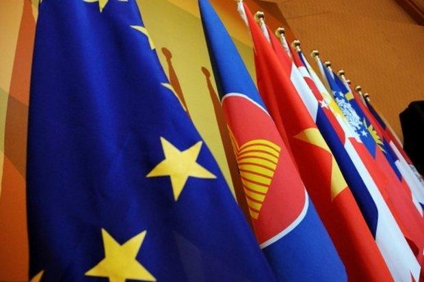 Flags of the EU, Asean and the Asean member countries. (Photo via European External Action Service, EEAS)