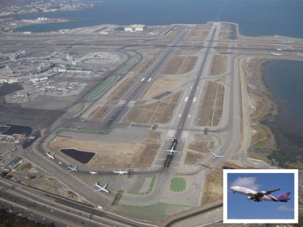 San Francisco International Airport, jets lining up for takeoff. (Source: Wikipedia)