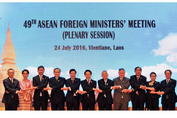 The annual meeting in Vientiane was marred by an inability to take a stand on the court ruling over the South China Sea. (Photo via Asean.org)