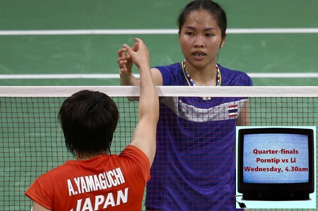 The disappointment is clear as Ratchanok Intanon shakes hands after losing to Japan's Akane Yamaguchi in straight sets Tuesday morning (Thailand time). (Reuters photo)