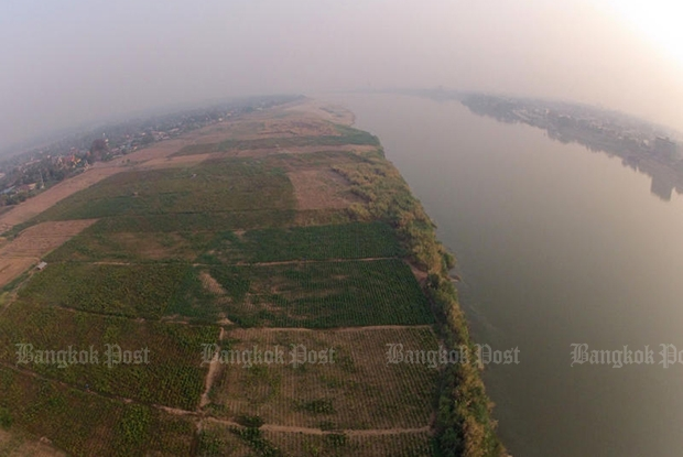 The aerial photo of the Mekong River in Tha Bo district of Nong Khai province in March 2016. (Bangkok Post file photo)