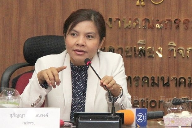 Supinya Klangnarong, a former champion of a free press, has become the spokeswoman for the official broadcast censor, the National Broadcasting and Telecommunications Commission (NBTC), carrying out the military regime's censorship decisions. (Post Today photo)