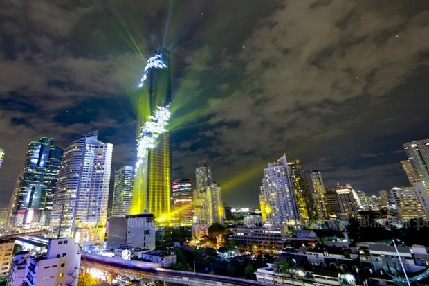 MahaNakhon, now the tallest building in Thailand, was officially opened on Monday with a light and sound show.