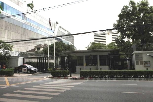 The British embassy is shopping for buyers for the rest of its historic Wireless Road land, 23 rai with an estimated value of 18 billion baht-plus. (Photo by Somchai Poomlard)