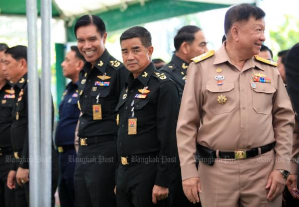 Assistant army chief Chalermchai Sittisart (centre) gathers with colleagues paying tribute to Privy Council president Gen Prem Tinsulanonda on the latter's 96th birthday on Aug 25. Gen Chalermchai will lead the army from Oct 1. (Photo by Chanat Katanyu)