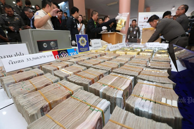 The Narcotics Suppression Bureau shows 33 million baht in cash, and drugs, seized from Sadayu