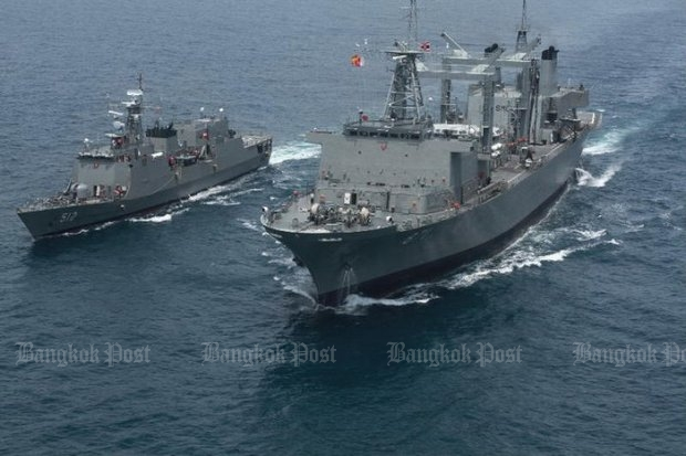Exactly five years ago, the Royal Thai Navy vessels HTMS Narathiwat and HTMS Similan joined 25 countries in an international mission to patrol the pirate-infested waters off the Somali coast. (Bangkok Post file photo by Wassana Nanuam)