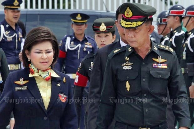 Gen Preecha Chan-o-cha, permanent secretary of the Ministry of Defence, and his wife Phongphan have been shamed online for misuse of state assets, and now new allegations of cronyism have come after their son won two military construction projects. (Photo by Tawatchai Kemgumnerd)