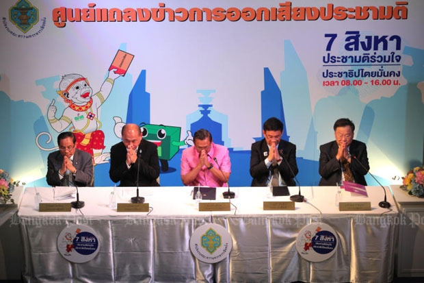 The Election Commission in its press conference on the Aug 7 constitution referendum (photo by Wichan Charoenkiatpakul)