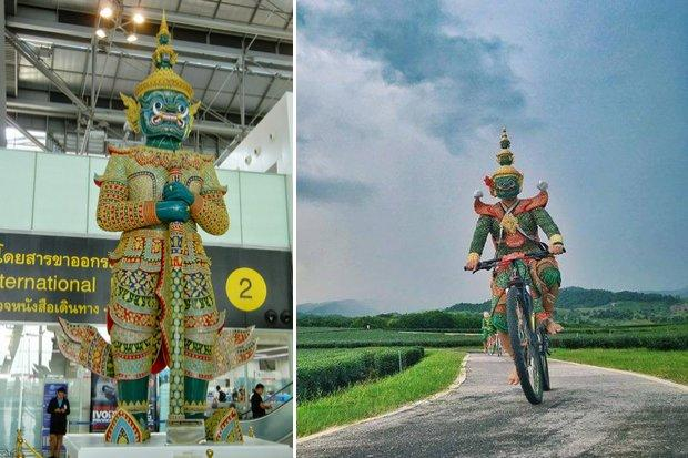 Left: Tossakan guards the immigration section and currency exchange booths at Suvarnabhumi airport. Right: Tossakan on a bicycle. (Photos: Airports of Thailand, Fun to Travel in Thailand music video)