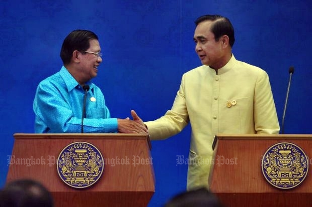 Prime Minister Prayut and Cambodian counterpart Hun Sen say the countries are in a new stage of bilateral relations, 'better than normal'. (File photo by Thiti Wannamontha)