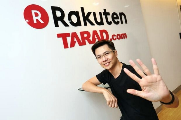 Pawoot Pongvitayapanu, founder and managing director of the former Rakuten Tarad.com, felt good in 2014 - until the Japanese partner pulled out and became a strong competitor. He now fears Thai e-shopping firms will be drowned by subsidised foreign giants. (Photo courtesy Tarad.com)