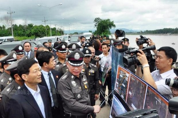 Chinese Public Security Minister Meng Jianzhu led an official delegation from a highly concerned Beijing to Chiang Rai, but was briefed only by police, and not the army, which was directly involved. (Photo by Cheewin Sattha)