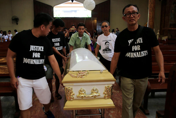 Filipino journalists escort the coffin of slain news reporter Alex Balcoba during his funeral in metro Manila, Philippines June 1, 2016. Balcoba was shot down last week by an unidentified gunman while manning his store along a busy street in the capital, according to local media. According to the International Federation of Journalists, the Philippines was the second most dangerous country for journalists over the past 25 years with 146 killings. Only Irag was worse.