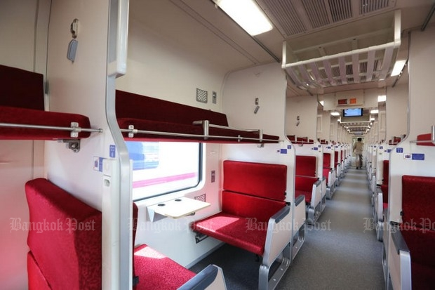 Second-class seating on one of the 115 new carriages that will start going into service on long distance trains from Nov 11.