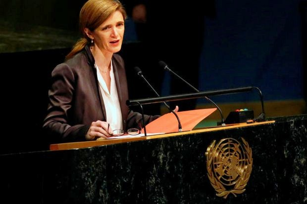 US ambassador Samantha Powers delivers a tribute to the late King Bhumibol at the United Nations. (Reuters photo)