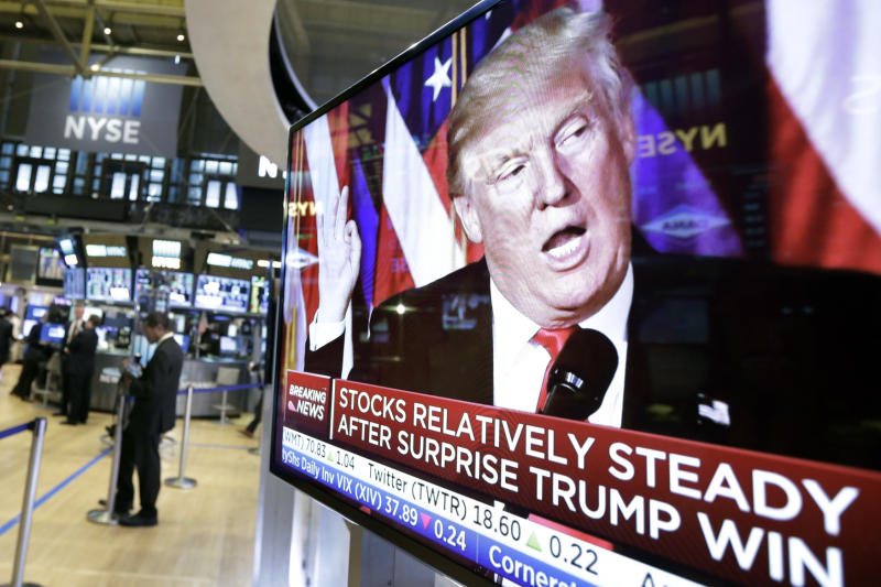 An image of president-elect Donald Trump appears on a television screen on the floor of the New York Stock Exchange on Wednesday. (AP photo)